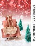 vertical christmas sleigh on... | Shutterstock . vector #718400806