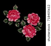 embroidery with roses. vector... | Shutterstock .eps vector #718405612