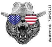 brown bear russian bear wild... | Shutterstock . vector #718408255