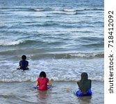 happy children play in the... | Shutterstock . vector #718412092