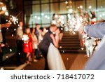 a crowd of young happy people...   Shutterstock . vector #718417072