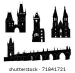 silhouettes of famous buildings ... | Shutterstock .eps vector #71841721