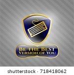 golden emblem with keyboard... | Shutterstock .eps vector #718418062