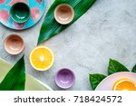 tableware pattern. cups and... | Shutterstock . vector #718424572