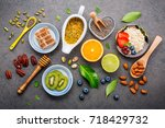 ingredients for the healthy... | Shutterstock . vector #718429732