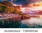 lake como sunrise  cadenabbia ... | Shutterstock . vector #718430236