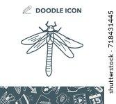 dragonfly doodle | Shutterstock .eps vector #718431445
