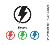 electric icon vector... | Shutterstock .eps vector #718432006