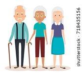 grandparents group avatars... | Shutterstock .eps vector #718435156