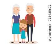 grandparents couple with... | Shutterstock .eps vector #718435672