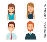 young people group avatars | Shutterstock .eps vector #718436776