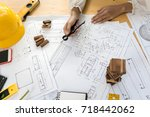 architect construction engineer ... | Shutterstock . vector #718442062