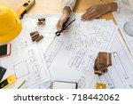 architect construction engineer ... | Shutterstock . vector #718442062