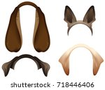 set dog ears mask isolated on... | Shutterstock . vector #718446406
