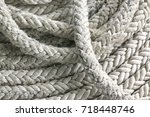 close up old nylon ropes | Shutterstock . vector #718448746