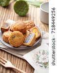 mooncake  a kind of traditional ... | Shutterstock . vector #718449256