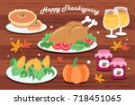 cute cartoon thanksgiving for... | Shutterstock .eps vector #718451065
