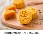 mooncake  a kind of traditional ... | Shutterstock . vector #718452286
