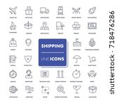line icons set. shipping pack. ... | Shutterstock .eps vector #718476286