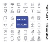 line icons set. university pack.... | Shutterstock .eps vector #718476352
