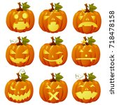 set of ripe pumpkin with carved ... | Shutterstock .eps vector #718478158