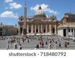 vatican city  22 july 2015 ... | Shutterstock . vector #718480792