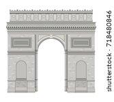 arch of triumph in paris... | Shutterstock .eps vector #718480846