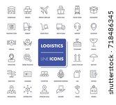 line icons set. logistics pack. ... | Shutterstock .eps vector #718486345