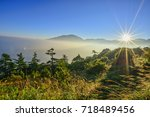 sunshine with heavy fog at...   Shutterstock . vector #718489456