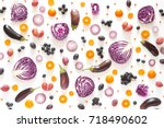 composition of vegetables and... | Shutterstock . vector #718490602