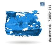 blue brush stroke and texture.... | Shutterstock .eps vector #718504966