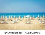 resort tropical sea beach.... | Shutterstock . vector #718508998