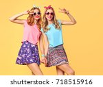fashion. young woman having fun.... | Shutterstock . vector #718515916