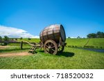 wine barrel on cart against...