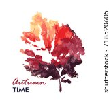 autumn color leave. watercolor. ... | Shutterstock .eps vector #718520605