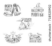 halloween party sketch icons... | Shutterstock .eps vector #718520902