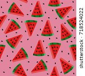watermelon with seeds pattern | Shutterstock .eps vector #718524022