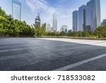 empty road with modern business ... | Shutterstock . vector #718533082