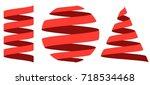 set 3d ribbon strip  curl...   Shutterstock .eps vector #718534468