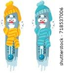 thermometer winter cartoon... | Shutterstock .eps vector #718537006