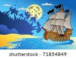old vessel at night near beach  ... | Shutterstock .eps vector #71854849