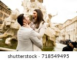 Stock photo loving couple sightseeing on travel vacation in rome italy 718549495