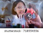 double exposure of  little... | Shutterstock . vector #718554556