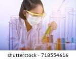 double exposure of  little... | Shutterstock . vector #718554616
