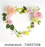 flowers composition with place... | Shutterstock . vector #718557208