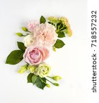 flowers composition with place... | Shutterstock . vector #718557232