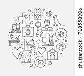 veterinary hospital circular... | Shutterstock .eps vector #718558906