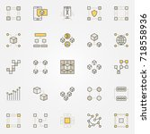 blockchain colorful icons.... | Shutterstock .eps vector #718558936