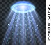 ufo light beam  blue halo... | Shutterstock .eps vector #718559242