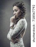 retro styled female portrait...   Shutterstock . vector #718567792